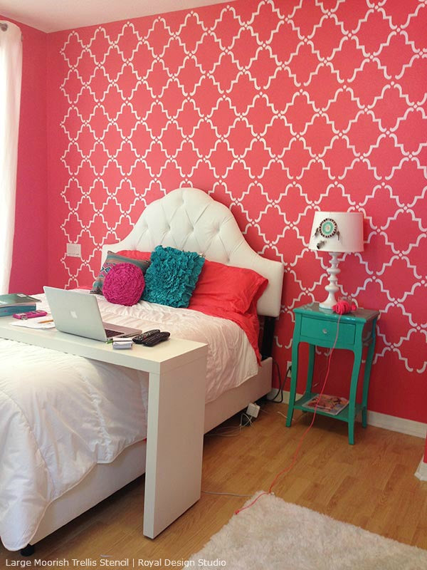 Design Wall Paint Room: Stencil Decorating Ideas In The Pink! Allover Lace And