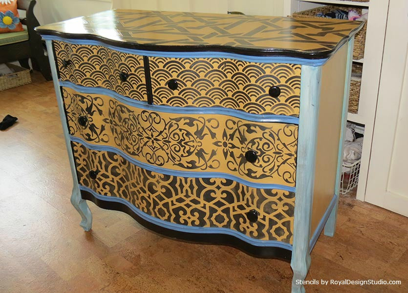Fun and Funky Dresser with Multiple Stencil Patterns | Project by Joanie Valenti | Royal Design Studio Stencils