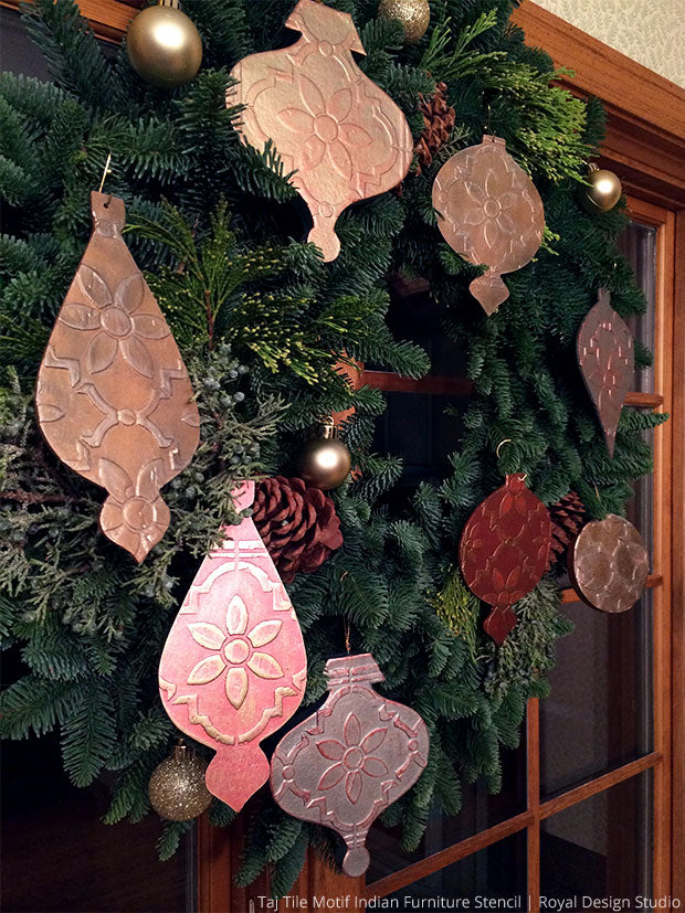 9 DIY Stencil Projects and Home Decor Ideas for a Shimmering Holiday Season - Christmas Craft Stencils by Royal Design Studio