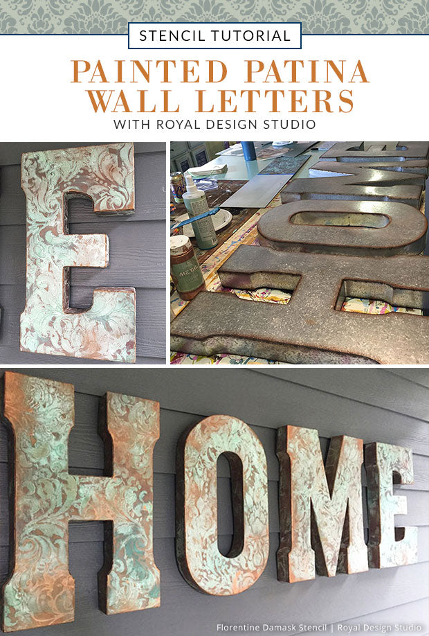 Outdoor Decor Tutorial: Painted Patina Wall Letters