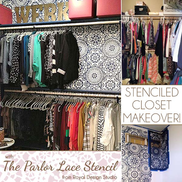 Stenciled Closet Makeover with Parlor Lace Stencil from Royal Design Studio