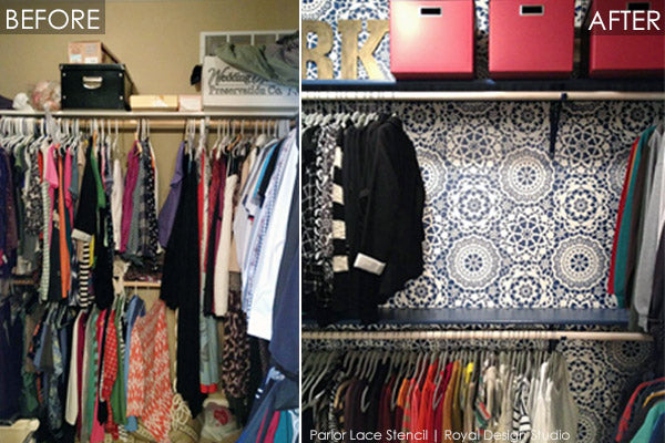 Before and After | Closet Update with Royal Design Studio Stencils