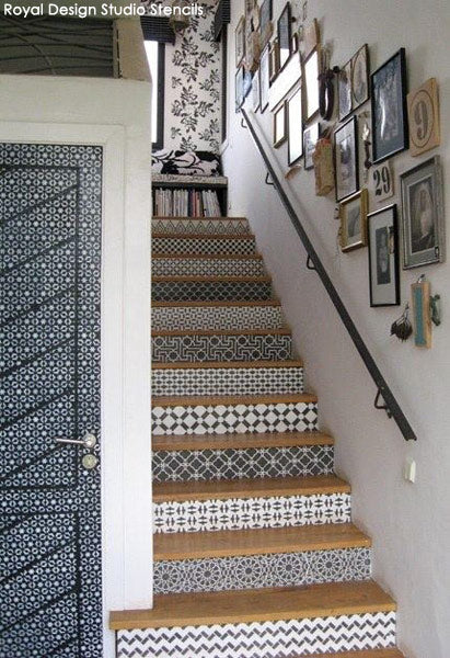 Stenciled Staircase by Royal Design Studio Stencils in Morocco's boutique hotel, Peacock Pavilions.