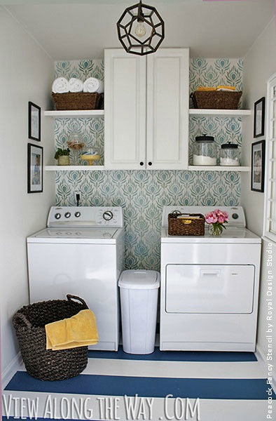 decorating laundry room with Royal Design Studio stencils