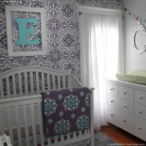 5 Baby Room Décor Accent Walls Ideas with Designer Nursery Stencils - Royal Design Studio