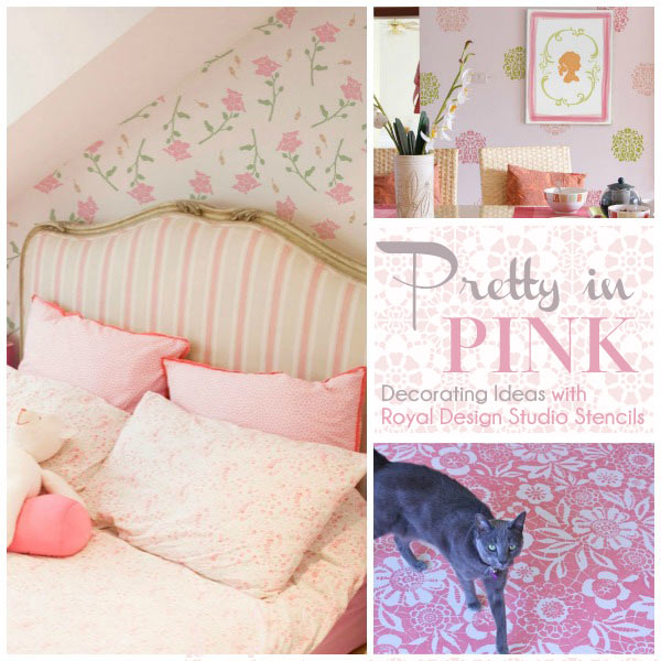 Pink stencil decorating ideas with floral and lace stencils from Royal Design Studio