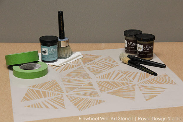Stencils, Paint, and Brushes and You Will Need to Create Trendy Modern Wall Art for Your Home or Office - Royal Design Studio Stencils Tutorial and Video