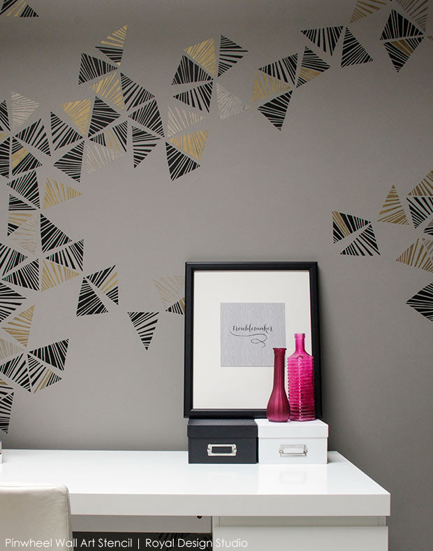 Learn How to Stencil Video: Create a Trendy Modern Free Form Feature Wall in Your Office or Home with Designer Stencils - Royal Design Studio