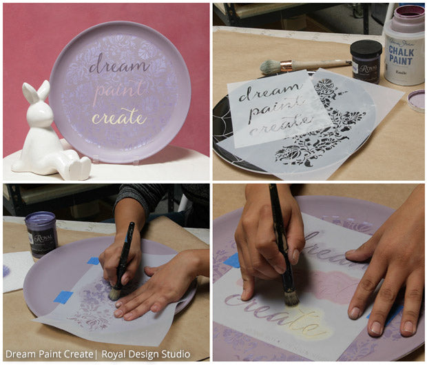Use Chalk Paint and Royal Stencil Creme paint to upcycle an inexpensive plastic plate into a statement decor accent with lettering and furniture stencils from Royal Design Studio