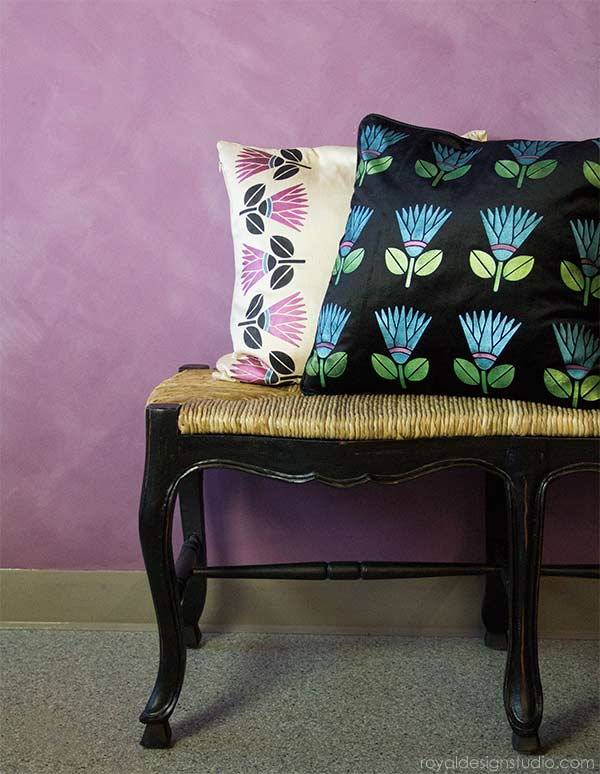 Stenciled Pillow DIY project with Stencil Creme Paints from Royal Design Studio
