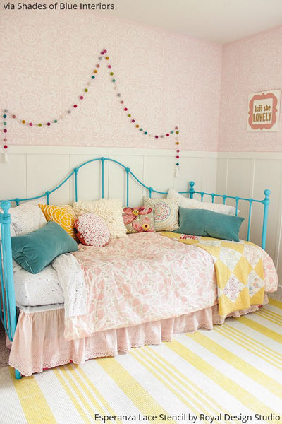 Decorating a Little Girl's Dream Room with Wall Stencils - Royal Design Studio