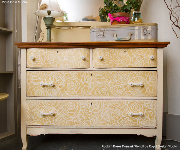 Rockin' Roses Damask Stencil on Furniture Dresser | Royal Design Studio | Project by Vicki Shoemaker