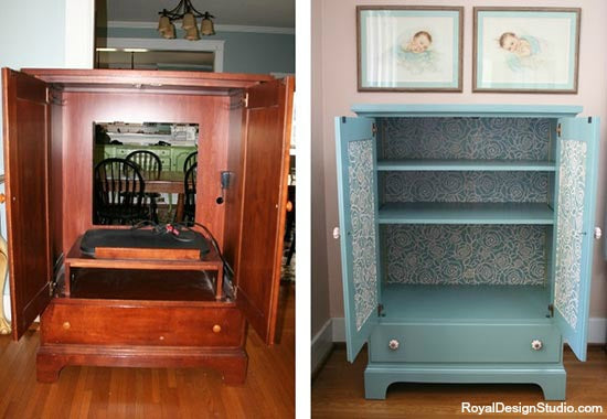 Before & After Stenciled Cabinet Transformation | Royal Design Studio