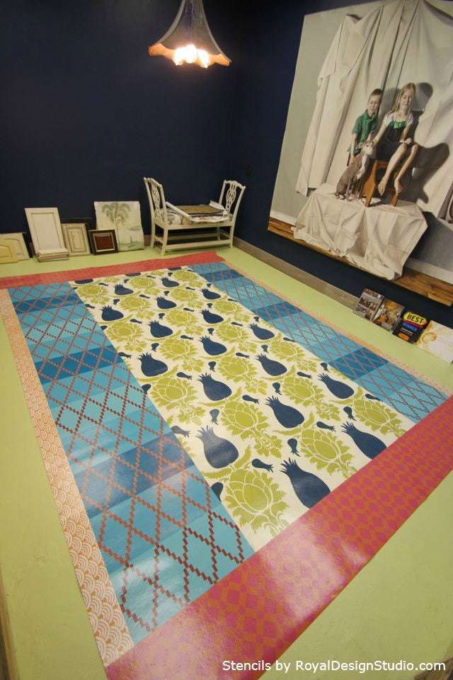 Royal Design Studio Stencils were used to Stencil a Floorcloth