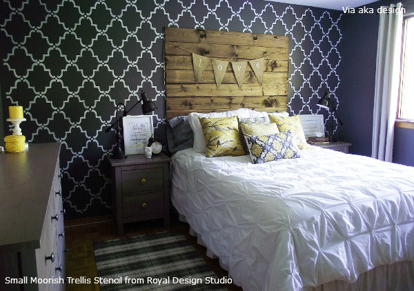 Creating an Allover Stencil Pattern on a Bedroom Wall | Royal Design Studio Stencils | Project by aka design