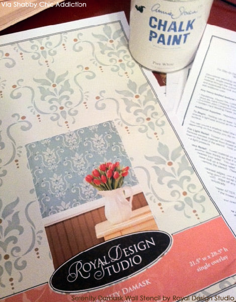 Serenity Damask Stencil by Royal Design Studio and Chalk Paint® decorative paint