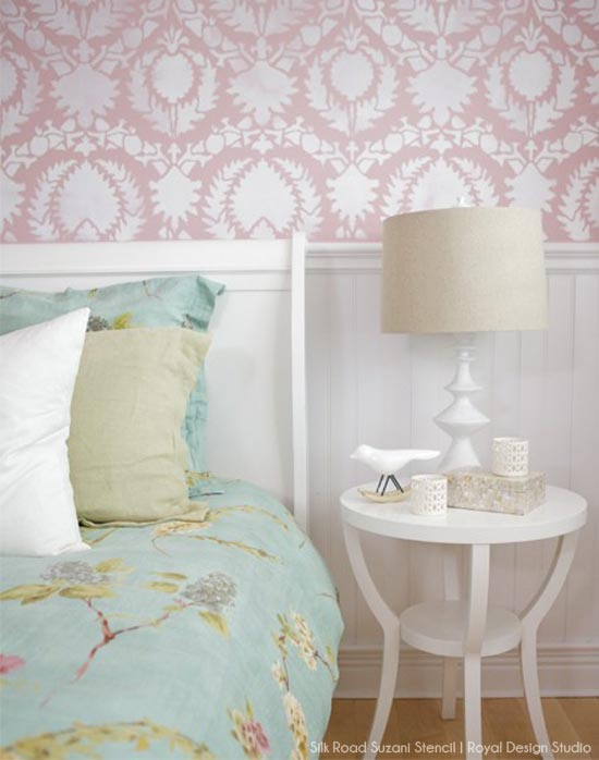 Pink and white bedroom wall stencil with Silk Road Suzani Stencil from Royal Design Studio
