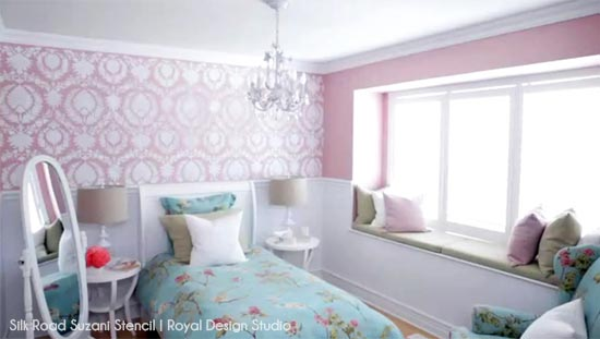 Allover Suzani Wall Stencil from Royal Design Studio in little girl's pink bedroom