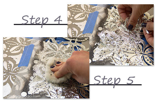 How to use Royal Stencil Size to gild a stencil pattern with silver leaf
