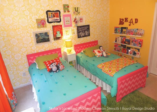 Fun way to decorate girls' bedroom walls with Skylar's Lace and Modern Chevron Stencils