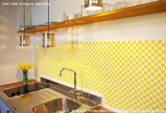 Stenciled Backsplash with Eight Pointed Stars Moroccan Stencil | Royal Design Studio