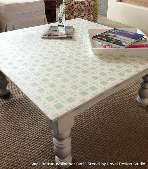 Stenciled Tabletop with the Small Rattan Wallpaper Bari J. Stencil from Royal Design Studio
