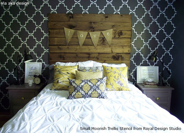 Stenciling an Allover Wallpaper Pattern Look on Walls | Royal Design Studio Stencils
