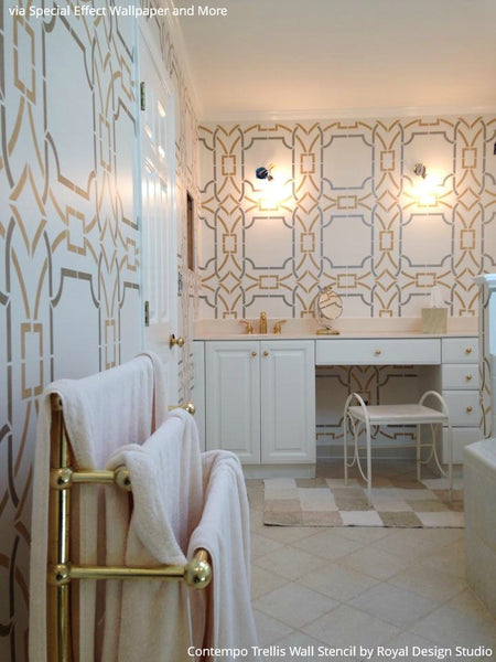 Exceptional The Clean Lines Of Our Contempo Trellis Wall Stencil Mixed With Touches Of  Gold ...
