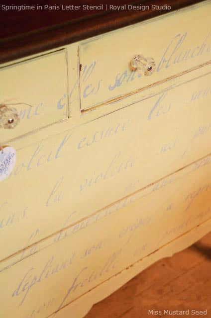 French Poem Stenciled Dresser | Chalk Paint® and Springtime in Paris Stencil