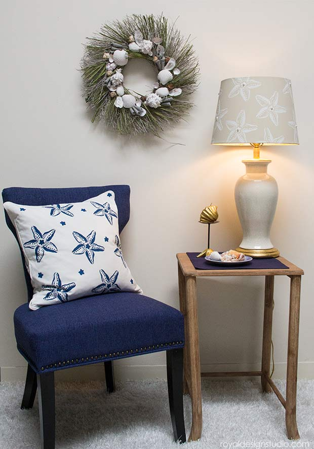 DIY Decor Tutorial: Stenciled Starfish Lampshade