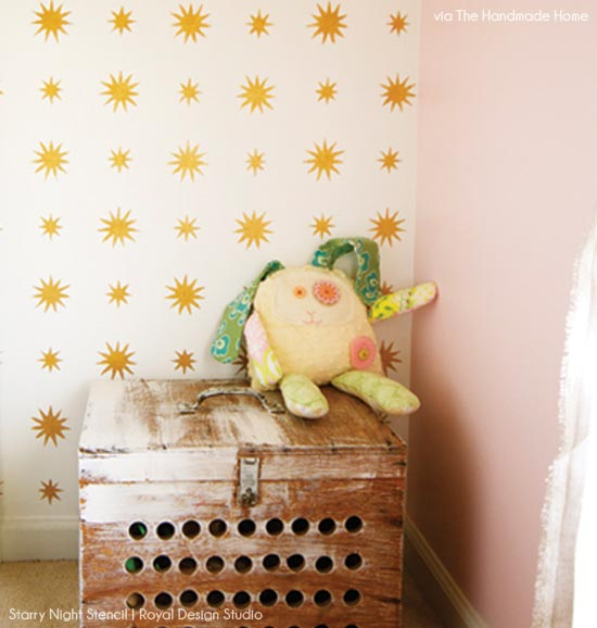Gold allover star stencil for little girl's bedroom from Royal Design Studio