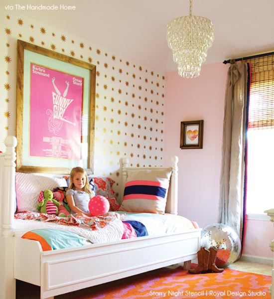 Cute Allover Starry Nights Stencil in pink and gold girl's bedroom