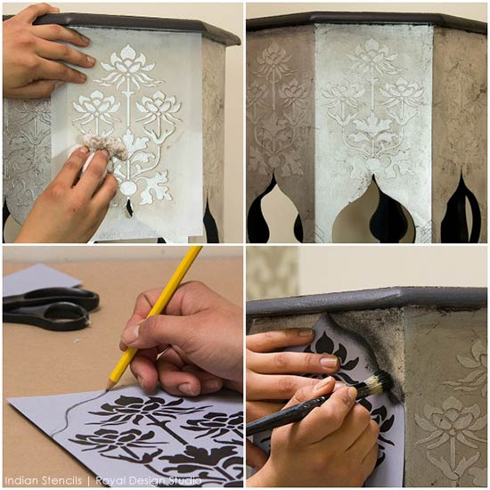 Stenciled and painted furniture with exotic Indian design and stencil patterns - Royal Design Studio flower furniture stencils and silver leaf