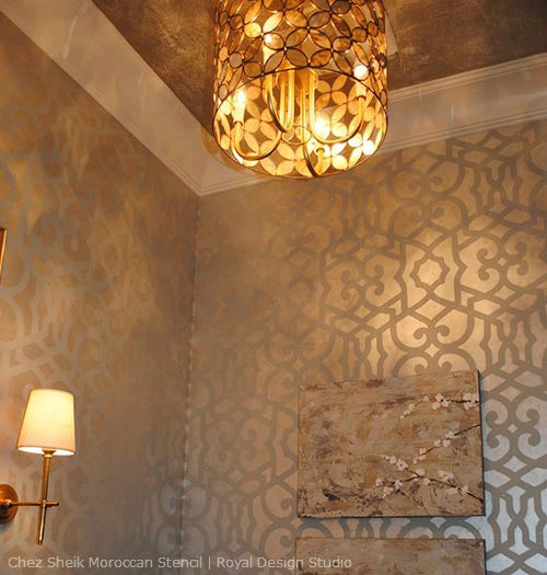 Create a Sophisticated Allover Wallpaper Look with Stencils and Metallics