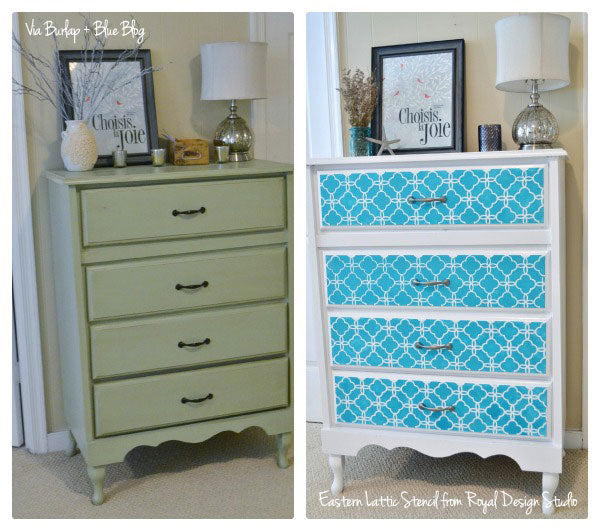 Lattice Stencil And Paint For Easy Furniture Makeover