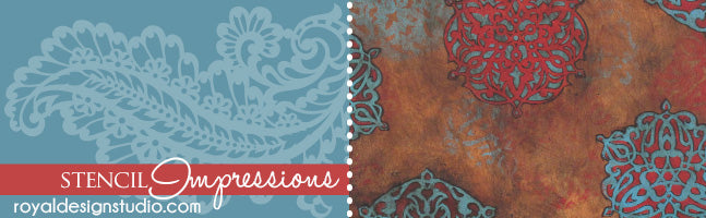 Stencil Impressions - Embossing Pattern Effects - Royal Design Studio Stencils