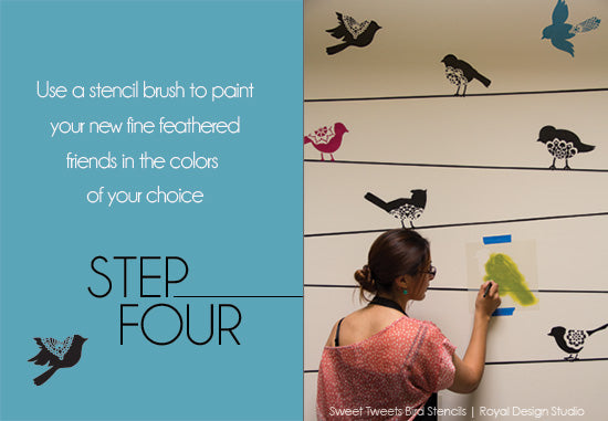 How to stencil tutorial with the new Lace Bird Stencils-Sweet Tweets from Royal Design Studio