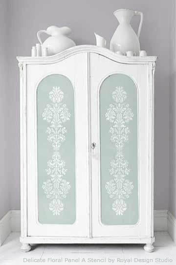 Faded and Worn Painted Cabinet with Stencils and Chalk Paint decorative paint | Royal Design Studio