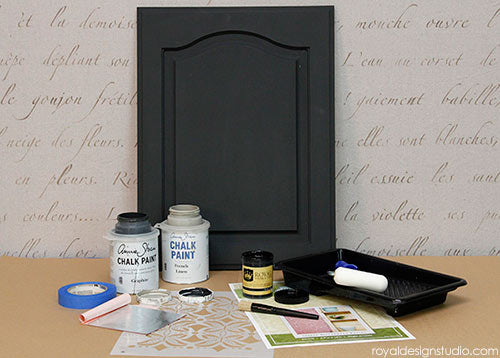 Stencil Supplies for how to stencil with Royal Stencil Size over Chalk Paint
