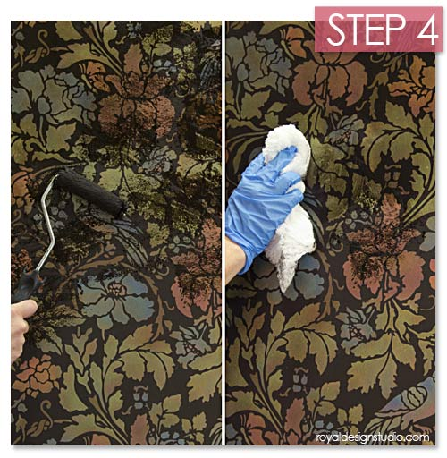 Antiquing a wall stencil with Stain and Seal water-based stains from Royal Design Studio