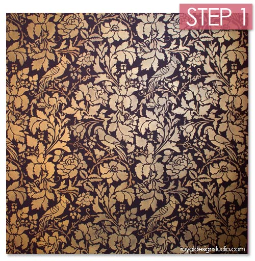 French Floral Damask Wall Stencil Pattern
