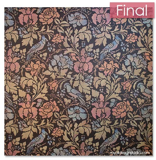 Floral Damask Wall Stencil in pretty metallic colors using Royal Design Stuido Stencil Cremes