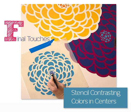 Use stencil brushes to add a center color detail to the Bloomers Zinnia flower stencils from Royal Design Studio