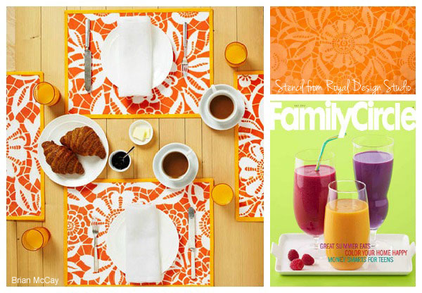 How to stencil placemats with Skylars Lace stencil from Royal Design Studio