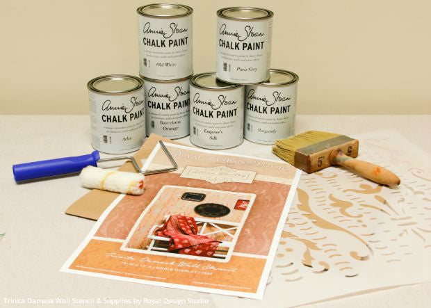 How to Stencil: Rustic Italian Design and Stria Stenciled Wall Finish using Royal Design Studio Wall Stencils and Chalk Paint by Annie Sloan