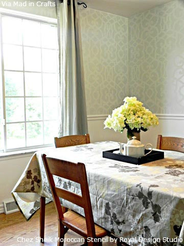 Allover Stenciled Dining Room Walls by Mad in Crafts | Royal Design Studio Stencils