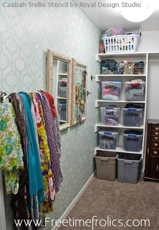 Transform a Closet with Stencils! Royal Design Studio shares great ideas for creating a closet with fab stencil style.