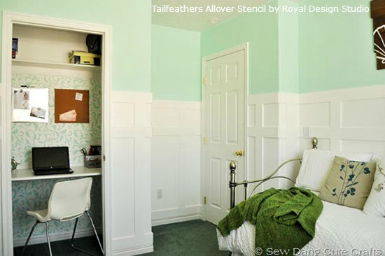 Allover Stencil Pattern in Closet | Royal Design Studio