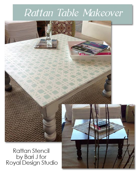 Stenciled rattan table by Bari J.