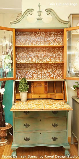 Stenciling the backs of cabinets and bookcases with Royal Design Studio Stencils
